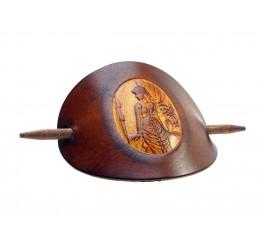 OX Antique Cameo Dorothea - Haarspange Leder & Holz