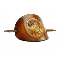 OX Antique Cameo Margarethe - Haarspange Leder & Holz
