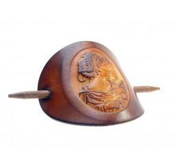 OX Antique Cameo Estelle & Colette - Haarspange Leder & Holz