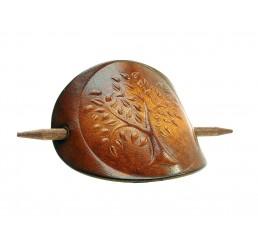 OX Antique Lebensbaum - Haarspange Leder & Holz