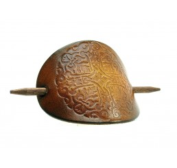 OX Antique Mandala - Haarspange Leder & Holz