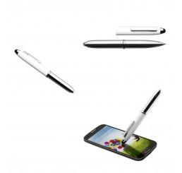 Kugelschreiber mit Soft-Touch-Spitze und LED Lampe - Moon White