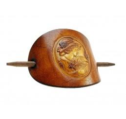 OX Antique Cameo Friederike - Haarspange Leder & Holz