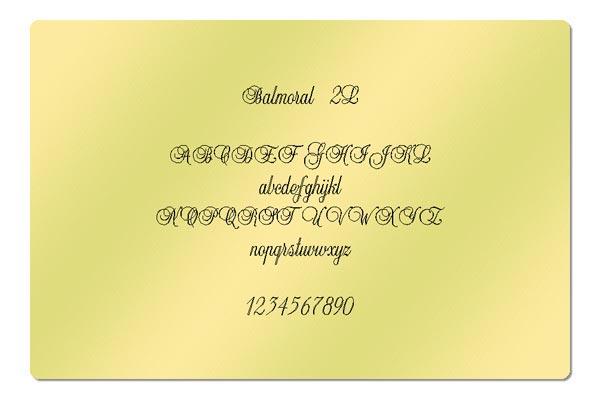Gravur Schriftart - Balmoral 2L