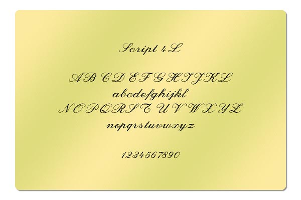 Gravur Schriftart - Script 4L