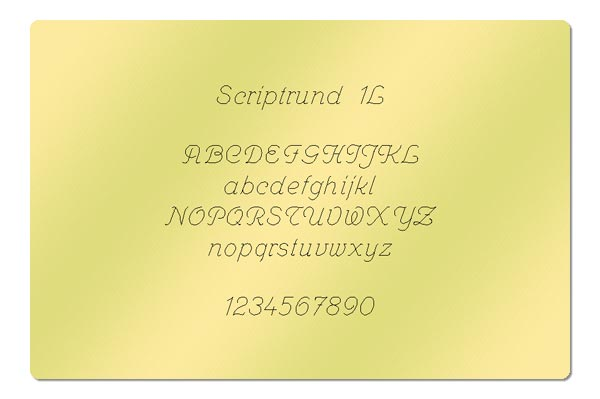 Gravur Schriftart - Scriptrund 1L